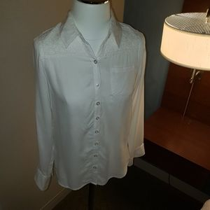 Justice Girls White Longsleeve button ip top Sz 14